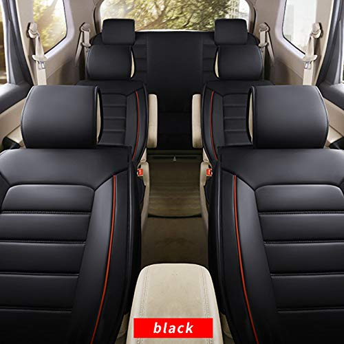 Muchkey 3D Surrounded Luxury Universal PU Leather Car Seat Cover Full Set 7-Seats car seat Cover Front+Rear Cushion,Airbag Compatible,Fit Most car,Truck,SUV