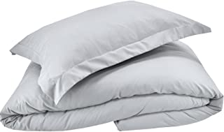Mezzati Luxury Duvet Cover 2 Piece Set – Soft and Comfortable 1800 Prestige Collection – Brushed Microfiber Bedding (Silver Light Gray, Twin/Twin XL Size)