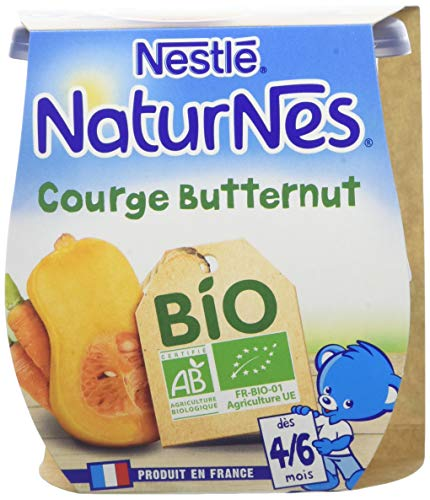 NESTLE NATURNES BIO Petits Pots Bébé Courge Butternut - Dès 4/6 mois - 2x130g - Pack de 12 (24 Pots)