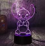 Z Lamp Nuevo 4 Diseño Lindo Puntada Alien Perro Dibujos Animados 3d Led Noche De Luz 7 Color Bebé Sueño Escritorio Lámpara Hogar Decor Holiday Kid Navidad Regalo Interruptor 3 color sólo Lovely Stitch