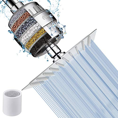 NearMoon Square Shower Head and 15 Stage Shower Filter Combo, High Pressure Filtered Showerhead for Hard Water, Improves the Condition of Your Skin, Hair - 1 Replace Filter Cartridge (Chrome Finish)