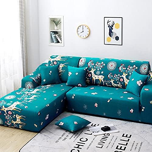 Funda Sofas 2 y 3 Plazas Ciervo Azul Fundas para Sofa con Diseño Elegante Universal,Cubre Sofa Ajustables,Fundas Sofa Elasticas,Funda de Sofa Chaise Longue,Protector Cubierta para Sofá