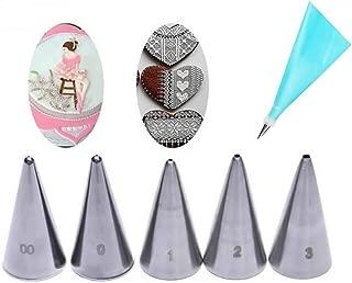 GOOTRADES 7 Pcs-Set Cake Decorating Tips (5 Writing Tube,1 Coupler,1 Silicone Pastry Bag)