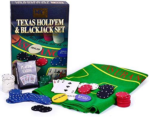 M.Y. Texas Hold'em Poker & Blackjack Set - Beinhaltet Pokerchips, Kartenspiel und Matte