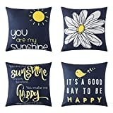 MIULEE Pack of 4 Outdoor Decorative Cute Throw Pillow Covers Summer Children's Day Quote Words Bird Sunshine Flower Cushion Case Sham Pillowcases for Couch Sofa Bed 18 x 18 Inch Navy Blue