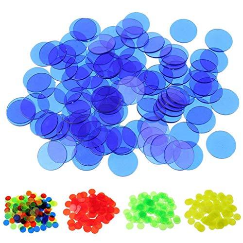 STOBOK Bingo Chips marcadores transparentes de plástico liso, 120pcs de plástico preescolar Bingo suministros contadores para juegos de matemáticas 1. 9x1. 9x0. 18 cm