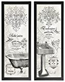 2 Vintage French Claw-foot Bathtub and Sink Panel Prints; Two framed 6x18in Prints; Ready to hang!
