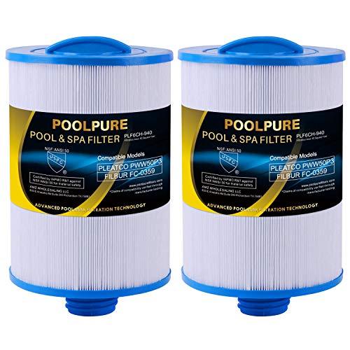 POOLPURE Spa Filter Replaces Pleatco PWW50P3(Coarse Thread), Unicel 6CH-940, 817-0050, Filbur FC-0359, 25252, 378902, 03FIL1400, 45 sq.ft Screw in Hot Tub Filter, 2 Pack
