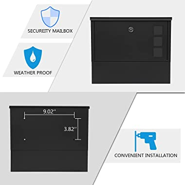KYODOLED Locking Mailbox Wall Mount,Locked Mailboxes for Outside,Mail Box with Key Lock,Large Capacity Mailbox for Newspapers