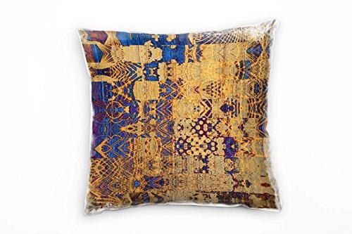 Paul Sinus Art Abstract, sierkussen, blauw, goud, bruin, 40 x 40 cm, voor bank, sofa, lounge, sierkussen, decoratie om je goed te voelen