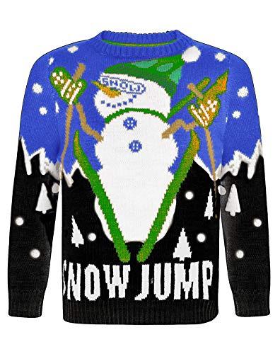 NOROZE Kinder Weihnachten Pullover Jungen Mädchen Retro Elf Schneemann Weihnachtsmann Faire Insel Rentier Neuheit Pull Kinder- Geschenke Xmas Strickpullover (5-6 Jahre, Snow Jump Königsblau)