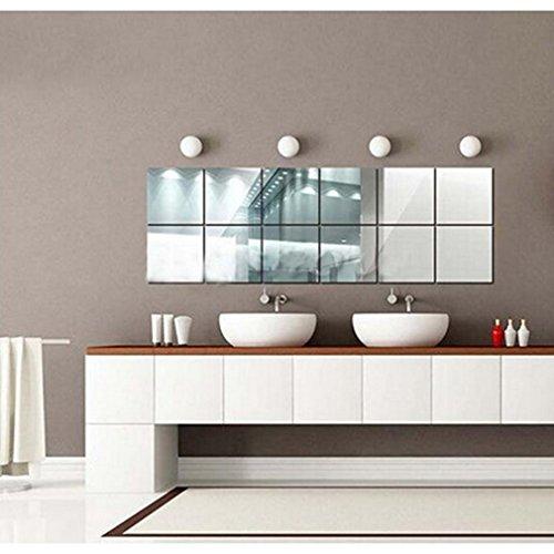 Rurah Mirror Wall Stickers Bathroom Self Adhesive Mirror And Diy Decor Adhesive Square Mirrors Stickers For Wall Decor 7pcs Wantitall