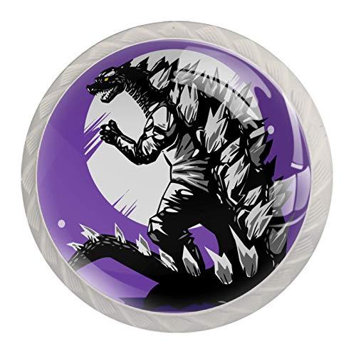 Godzilla - Pomos de cristal con fondo morado con diseño de dinosaurio para aparador, cajones, 4 unidades