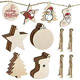 MELLIEX 40 Piezas Adornos de Madera de Colgantes de Navidad para DIY, Decoracion Colgantes de Madera con 40pcs Cordeles para Adornos de Navidad
