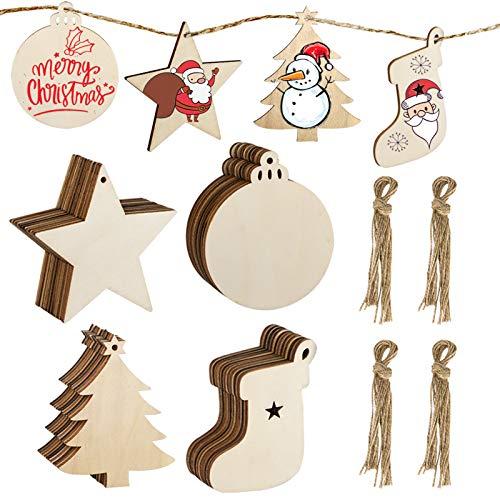 MELLIEX 40pcs Fette di Legno di Natale Dischi Ornamenti Decorazioni in Legno Fai-da-Te Set con Spago per Decorazione della Festa di Natale a Casa (4 Tipi)