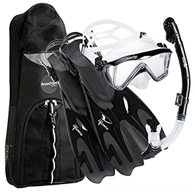 Phantom Aquatics Italian Collection Legendary Panoramic View Mask Fin Dry Snorkel Set with Deluxe Snorkeling Gear Bag… (Black, S/M, 5-8)