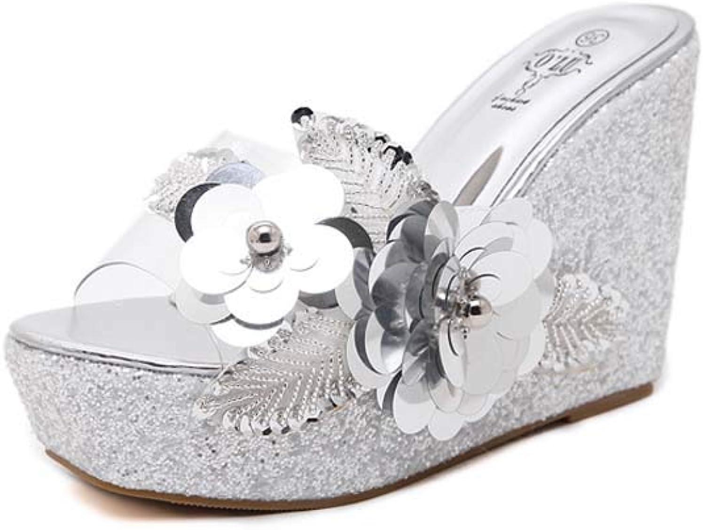 Clear Wedges High Heels,Women's Transparent Mules,Platform Slides Sandals Open Toe Slip On Cork Roman Sandals shoes