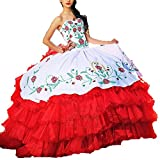 Diandiai Ball Gown Quinceanera Dresses Embroidery White Red Wedding Prom Bridal Dres 20