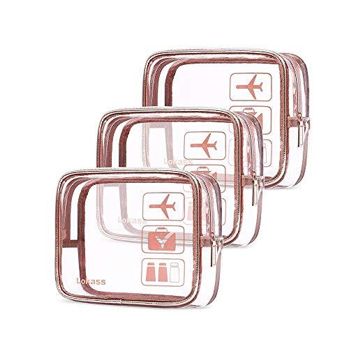 Sac cosmétique Voyage Trousse de Toilette Portable Sac Banquet Wristlet PVC Transparent Sac A Dos Sac (Couleur : Rose, Taille : L)