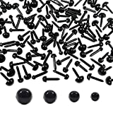TOAOB 480 Pezzi Occhi di Sicurezza in Plastica Nero 3 a 6 mm per Creazione Bambole Pupazzi Artigianato Fai Da Te