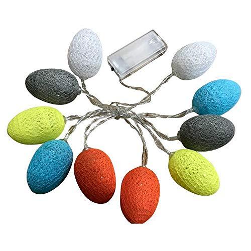 Cadena de luces de huevo de Pascua en colores pastel, adornos de Pascua, luces con pilas, para suministros festivos,hogar,interior,exterior,LED(blanco amarillo, Modelo de batería 3,2 metros 20 luces)