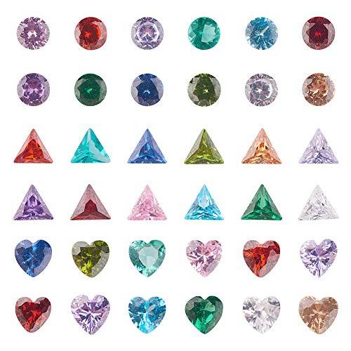 PandaHall 36 Pezzi 3 Forme Cubic Zirconia cabochon Diamante Cuore Triangolo sfaccettato zirconi per la Decorazione creazione di Gioielli