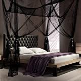 4 Corner Post Bed Canopy Bedroom Canopy Curtains with 4 Pieces Tassel Hanging Pendants for King Size Bed and Large Queen Size Bed (Black)