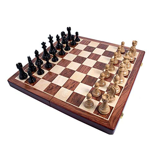 Yxxc Chess Foldable Wood Chess Set with Internal Storage Retro Classic Chess Pieces Chess Game Entertainment Chess Chess Board (Color : B-Wood Grain)