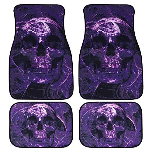 VOSAREA Auto Innen Fußmatten Lila Schädel Fußpolster Universal Full Set Teppich Auto LKW Fußmatten Halloween Auto Zubehör