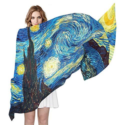 QMIN Sciarpa Van Gogh con motivo cielo stellato, alla moda, leggera, scialle, sciarpe, sciarpe per donne e ragazze
