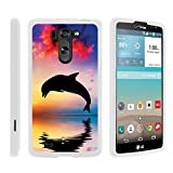 TurtleArmor   Compatible with LG G Vista Case   LG G Pro 2 Lite Case [Slim Duo] Hard Shell Snap On Case Compact Cover Matte Sea Ocean on White - Dolphin Jump