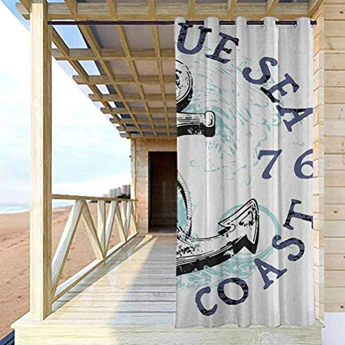 crabee Anchor Outdoor Sheer Curtain Balcony, Deck Curtains Deep Blue Sea Pacific Coast Vintage Emblem from 1976 Grungy Display Dark Blue Pale Blue Black