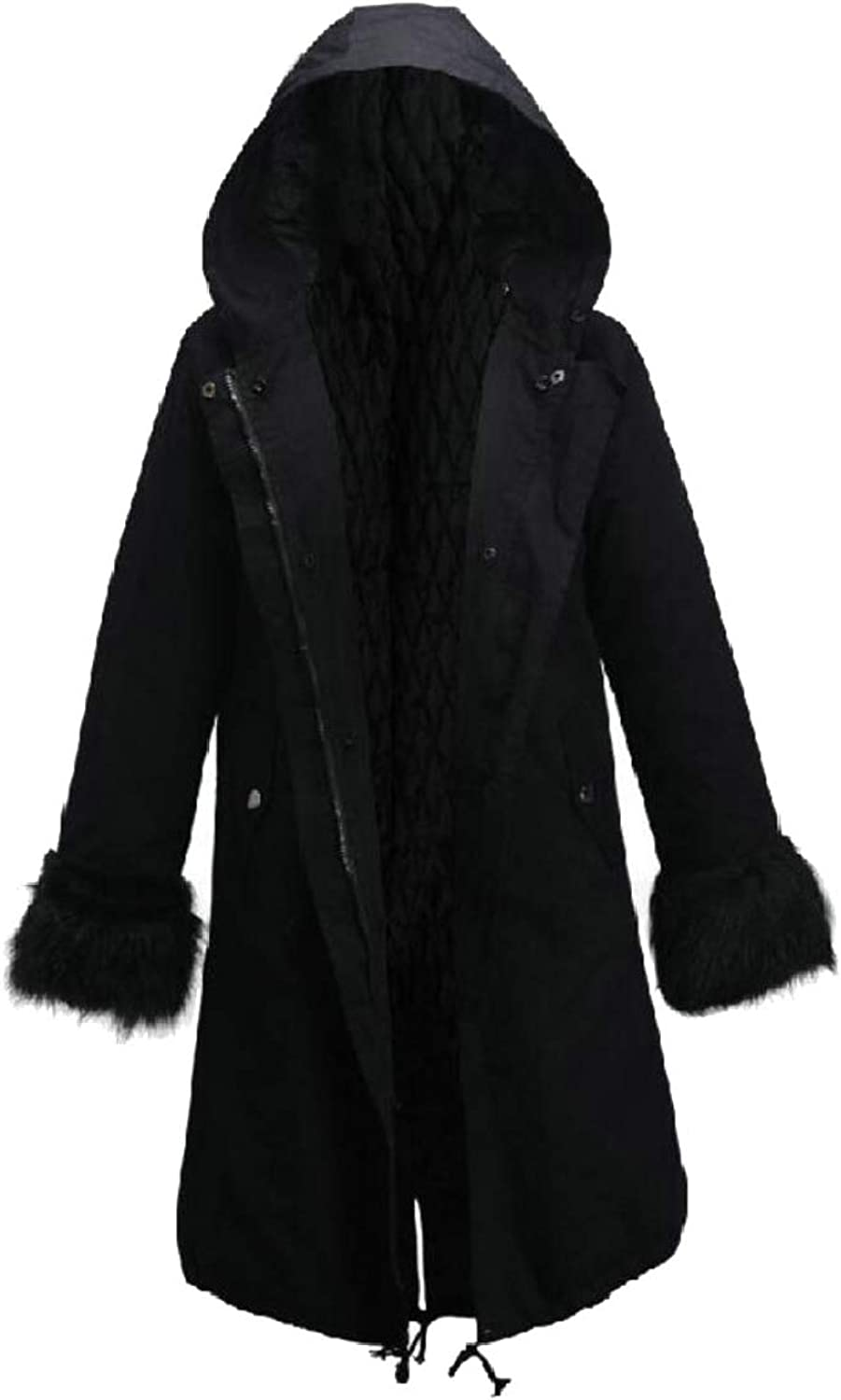 Jxfd Women's Winter Coat Hood Parka Overcoat Faux Fur Parka Jacket Outwear