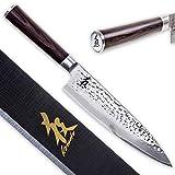 Kirosaku Cuchillo Japonés de Damasco Premium 20 cm – Cuchillo de Cocina Extremadamente Afilado de Acero de Damasco – Cuchillo Acero Damasco / Cuchillo de Cocina de Chef / Cuchillo de Sushi