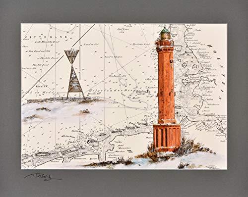 Kunstdruck Leuchtturm Norderney mit Peilbake mit original signiertem Passepartout Fotograu von Thomas Kubitz