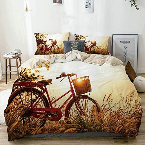 Popun Juego de Funda nórdica Beige, Bicicleta Retro en Tonos Sepia con Estampado Rural, Juego de Cama Decorativo de 3 Piezas con 2 Fundas de Almohada