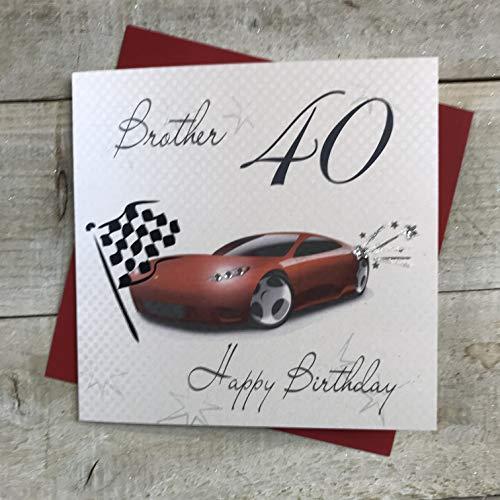 witte katoenen kaarten 40 Gelukkig, Handgemaakte 40e Verjaardagskaart (Broer, Racing Car)