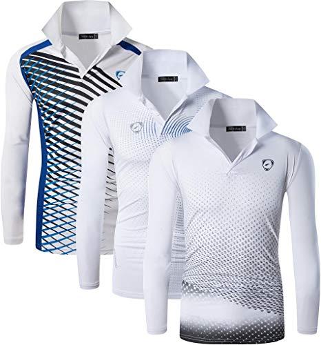 Jeansian メンズ スポーツ 長袖 ポロ Tシャツ ゴルフ テニス ボウリング バドミントン LA300_306_307_White_M
