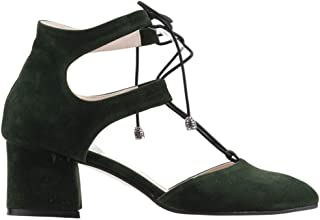 Ayakland 544-348 Günlük 5 Cm Topuk Bayan Süet Sandalet Ayakkabı YEŞİL
