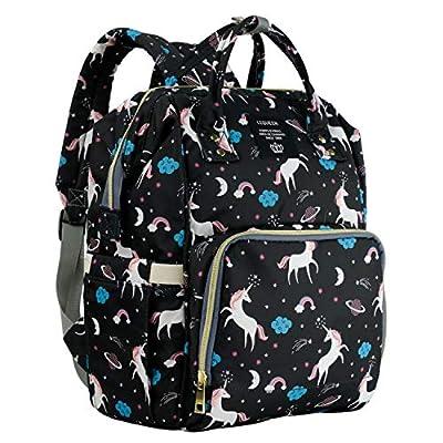 MiGer Diaper Bag Backpack for Mom Dad, Maternity Nappy Bags, Large Capacity Unicorn Baby Diaper Bag Bookbag for Boys Girls (Black)