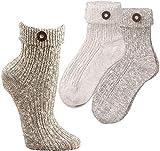 socksPur Umschlag-Socken für Damen u. Herren mit angenähtem Trachten-Knopf 2er_PACK / 1 Farbe (43-46, sibermelange)