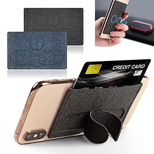 Tarjetero y Agarre para Teléfono con Anillo,Soporte Magnético para Móvil Coche,Tarjetas de Seguridad Adhesivo,Bloqueo RFID (Negro + Azul)