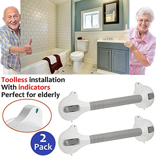 """AmeriLuck Suction Bath Grab Bar 16.5"""" with Indicators, Bathroom Shower Handle (White, 2 Pack)"""
