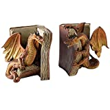 Fighting Dragon Bookends, Resin Decorative Bookends Fighting Dragon Statues Single Bookend for Desktop Ornament for Office, Study, Bedroom