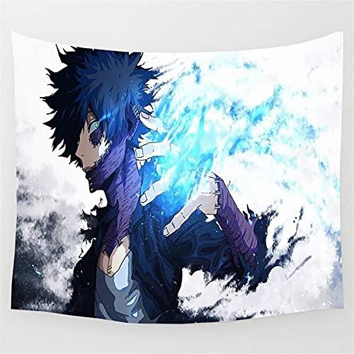 Tapices Anime My Hero Academia Tapiz Psicodélico Gris Blanco Azul Tapiz De Pared Decoración Del Hogar Colgante De Pared Para Hombres Carteles De Dormitorio 150X100Cm