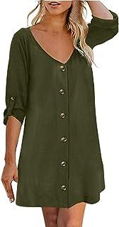 Shusuen Women's Button Down V Neck Tank Tops Loose Casual Roll Sleeved Shirts Blouses Midi Dresses