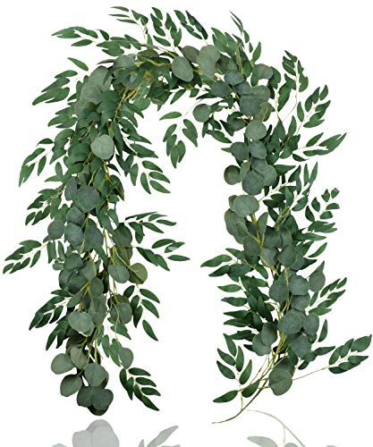 Falflor 2Pcs Greenery Garland 6.5Ft Artificial Eucalyptus Garland and 6.5Ft Willow Leaves Garland Table Runner Vine Garland for Wedding Home Decor(2Pcs)