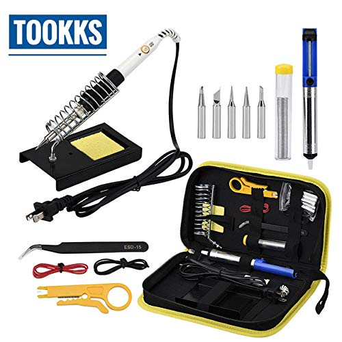 Review Soldering Electric soldering iron set adjustable temperature portable welding iron with desol...