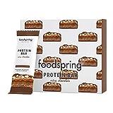 foodspring Barritas De Proteína Extra Choco, Doble Chocolate y Anacardos, 12 x 65g, una auténtica chocolatina con 95% menos de azúcares