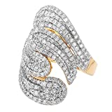 Dazzlingrock Collection 3.00 Carat (ctw) 14K Round Diamond Ladies Cocktail Ring, Yellow Gold, Size 7